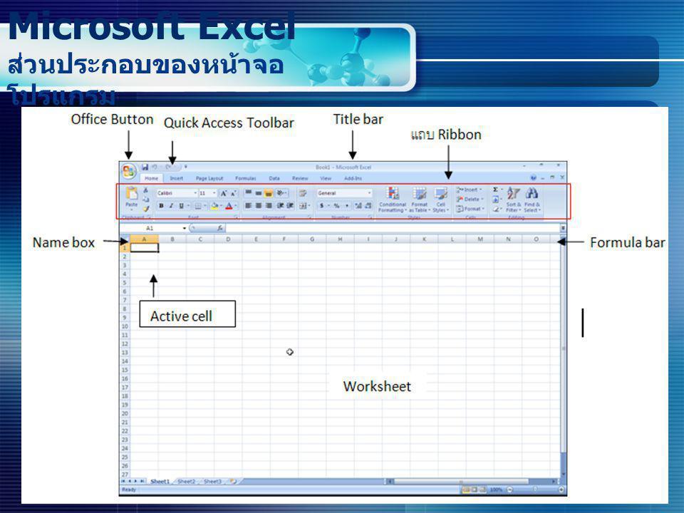 Microsoft Excel ส่วนประกอบของหน้าจอ โปรแกรม