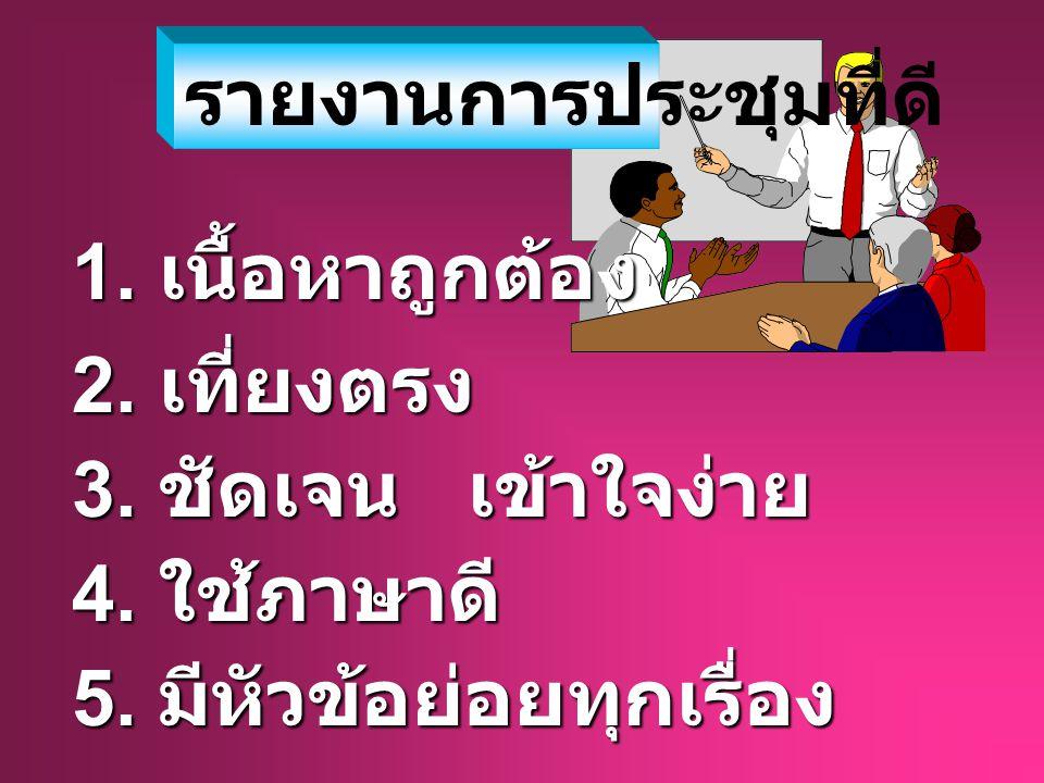 เลิกประชุมเวลา............... ประธานกล่าวปิด การประชุม......................... ( ผู้จดรายงาน การประชุม )