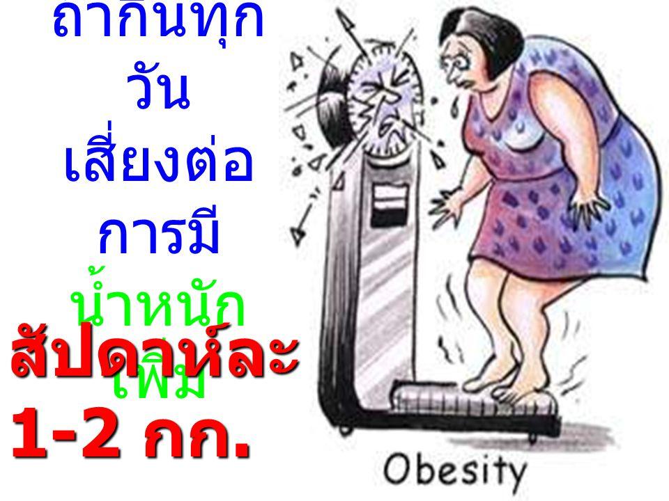 ถ้ากินทุก วัน เสี่ยงต่อ การมี น้ำหนัก เพิ่ม สัปดาห์ละ 1-2 กก.