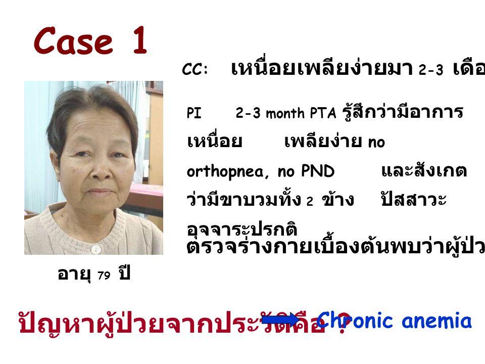 PI2-3 month PTA รู้สึกว่ามีอาการ เหนื่อยเพลียง่าย no orthopnea, no PND และสังเกต ว่ามีขาบวมทั้ง 2 ข้าง ปัสสาวะ อุจจาระปรกติ Case 1 อายุ 79 ปี CC: เหนื