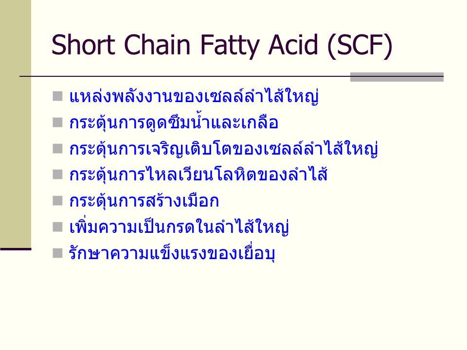 Short Chain Fatty Acid (SCF)  แหล่งพลังงานของเซลล์ลำไส้ใหญ่  กระตุ้นการดูดซึมน้ำและเกลือ  กระตุ้นการเจริญเติบโตของเซลล์ลำไส้ใหญ่  กระตุ้นการไหลเวียนโลหิตของลำไส้  กระตุ้นการสร้างเมือก  เพิ่มความเป็นกรดในลำไส้ใหญ่  รักษาความแข็งแรงของเยื่อบุ