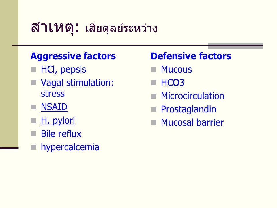 สาเหตุ: เสียดุลย์ระหว่าง Aggressive factors  HCl, pepsis  Vagal stimulation: stress  NSAID  H. pylori  Bile reflux  hypercalcemia Defensive fact