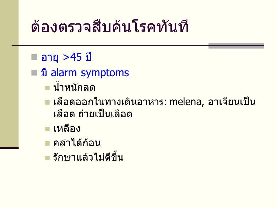 ต้องตรวจสืบค้นโรคทันที  อายุ >45 ปี  มี alarm symptoms  น้ำหนักลด  เลือดออกในทางเดินอาหาร: melena, อาเจียนเป็น เลือด ถ่ายเป็นเลือด  เหลือง  คลำไ
