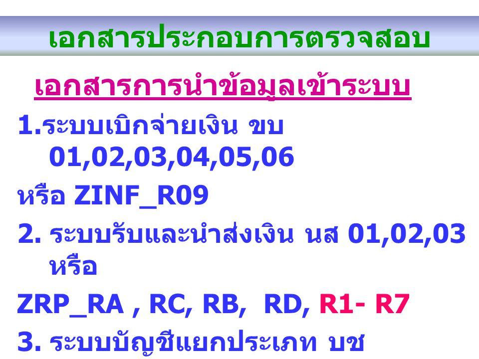 เอกสารประกอบการตรวจสอบ เอกสารการนำข้อมูลเข้าระบบ 1. ระบบเบิกจ่ายเงิน ขบ 01,02,03,04,05,06 หรือ ZINF_R09 2. ระบบรับและนำส่งเงิน นส 01,02,03 หรือ ZRP_RA