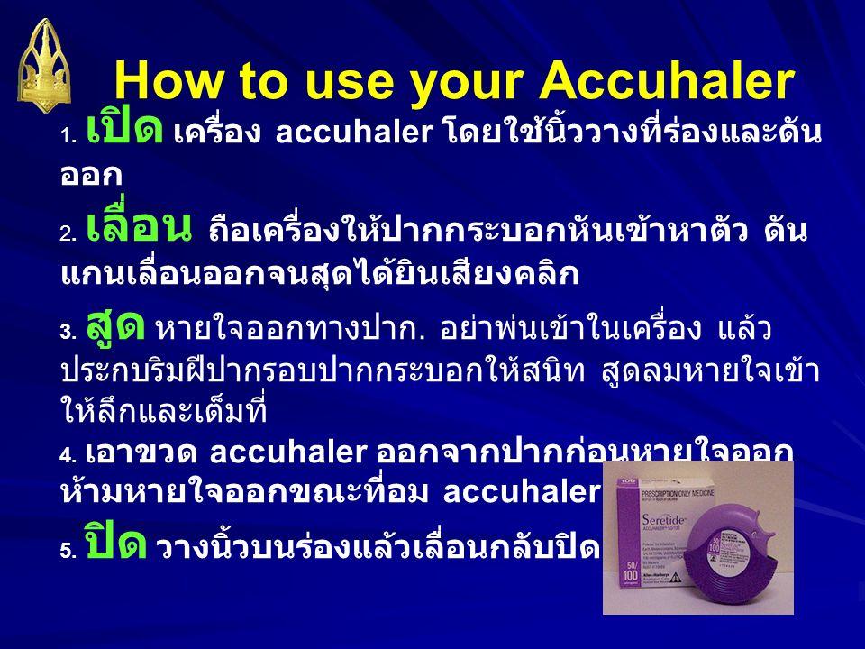 1. เปิด เครื่อง accuhaler โดยใช้นิ้ววางที่ร่องและดัน ออก 2. เลื่อน ถือเครื่องให้ปากกระบอกหันเข้าหาตัว ดัน แกนเลื่อนออกจนสุดได้ยินเสียงคลิก 3. สูด หายใ