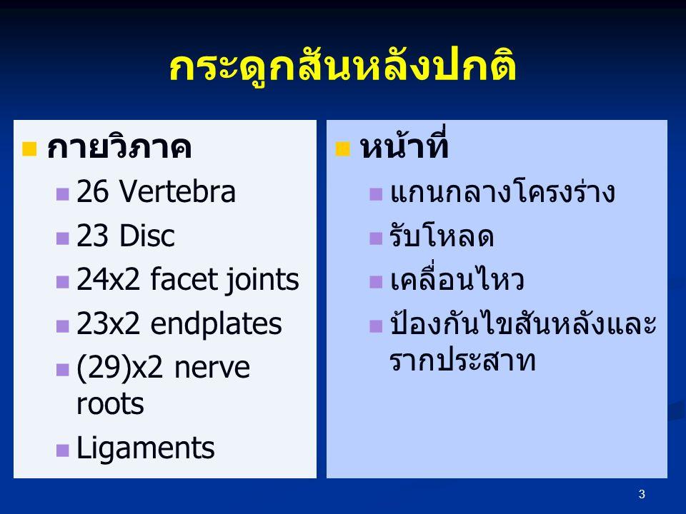 กระดูกสันหลังปกติ   กายวิภาค   26 Vertebra   23 Disc   24x2 facet joints   23x2 endplates   (29)x2 nerve roots   Ligaments  หน้าที่  แ