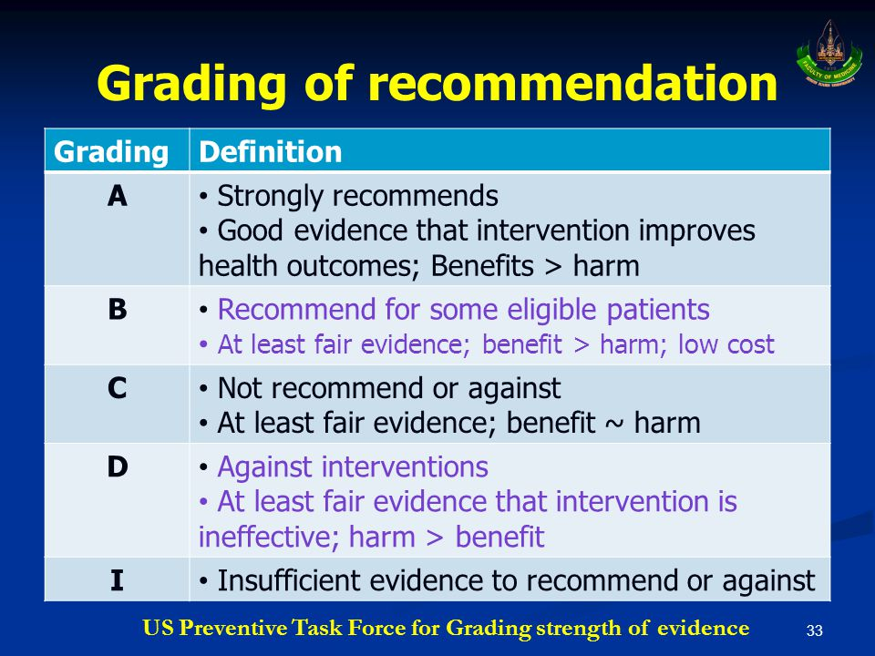 Grading of recommendation 33 GradingDefinition A • Strongly recommends • Good evidence that intervention improves health outcomes; Benefits > harm B •