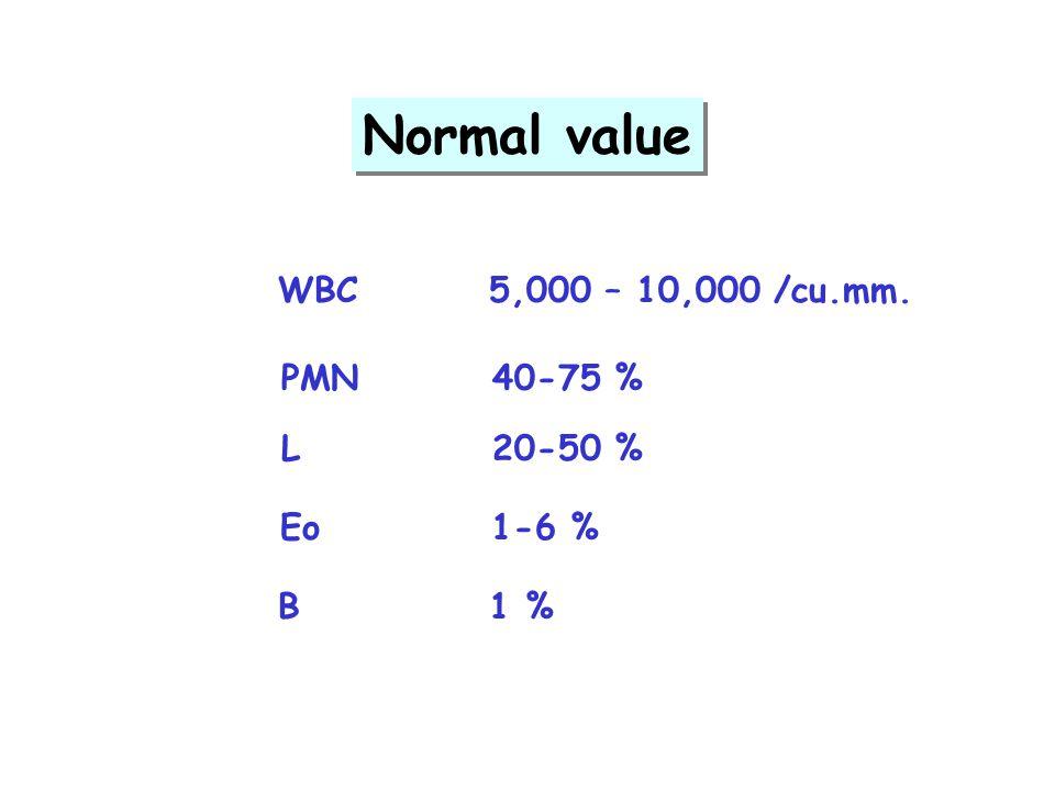 Normal value WBC5,000 – 10,000 /cu.mm. PMN40-75 % L20-50 % Eo1-6 % B1 %