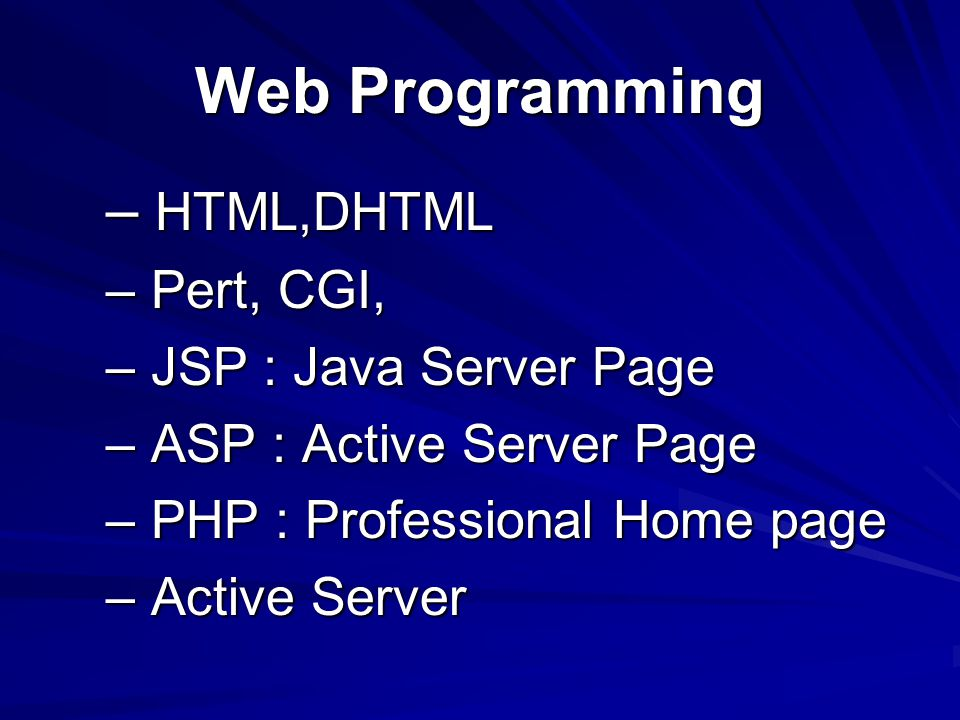 Web Programming – HTML,DHTML – Pert, CGI, – JSP : Java Server Page – ASP : Active Server Page – PHP : Professional Home page – Active Server