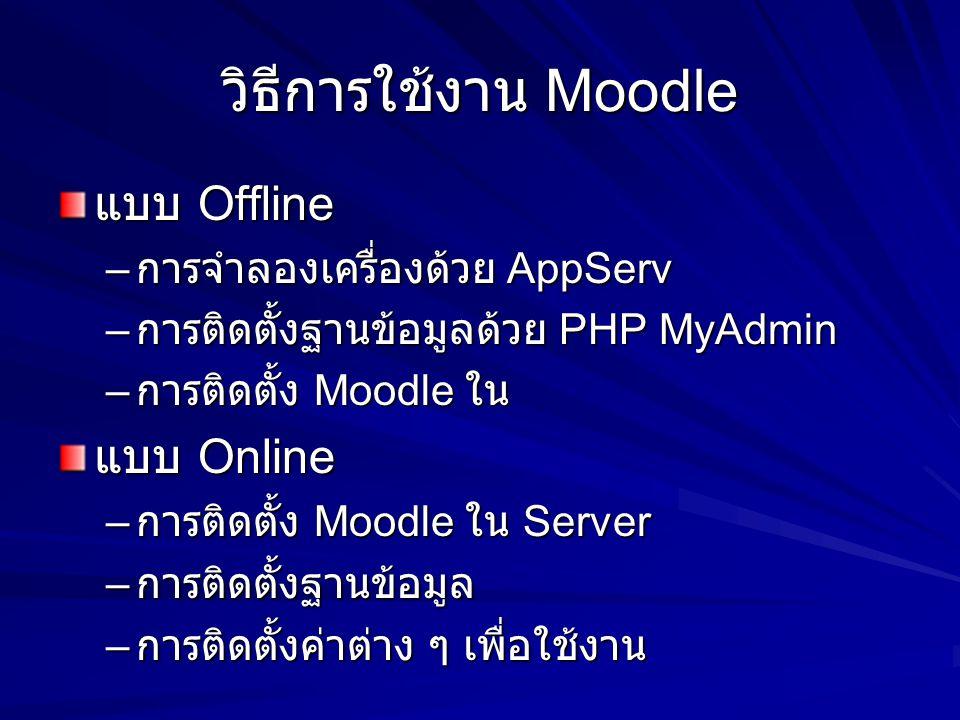 วิธีการใช้งาน Moodle แบบ Offline – การจำลองเครื่องด้วย AppServ – การติดตั้งฐานข้อมูลด้วย PHP MyAdmin – การติดตั้ง Moodle ใน แบบ Online – การติดตั้ง Moodle ใน Server – การติดตั้งฐานข้อมูล – การติดตั้งค่าต่าง ๆ เพื่อใช้งาน