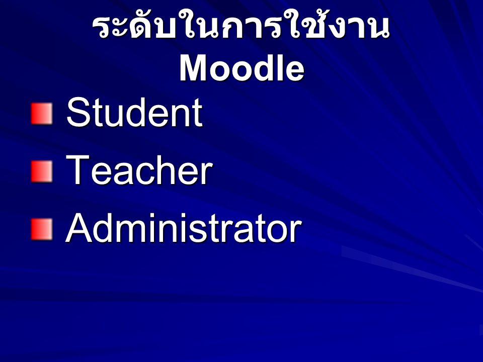 ระดับในการใช้งาน Moodle Student Student Teacher Teacher Administrator Administrator