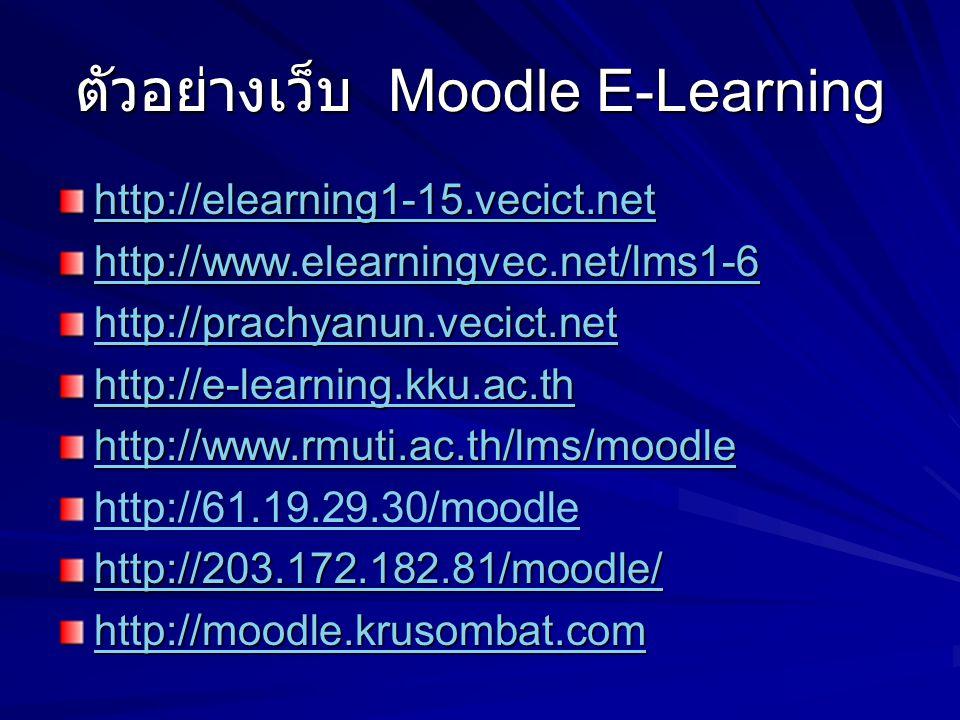 ตัวอย่างเว็บ Moodle E-Learning http://elearning1-15.vecict.net http://www.elearningvec.net/lms1-6 http://prachyanun.vecict.net http://e-learning.kku.ac.th http://www.rmuti.ac.th/lms/moodle http://61.19.29.30/moodle http://203.172.182.81/moodle/ http://moodle.krusombat.com