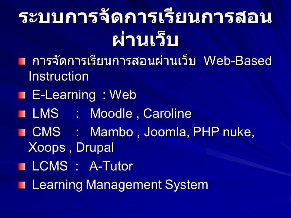 ระบบการจัดการเรียนการสอน ผ่านเว็บ การจัดการเรียนการสอนผ่านเว็บ Web-Based Instruction การจัดการเรียนการสอนผ่านเว็บ Web-Based Instruction E-Learning : Web E-Learning : Web LMS : Moodle, Caroline LMS : Moodle, Caroline CMS : Mambo, Joomla, PHP nuke, Xoops, Drupal CMS : Mambo, Joomla, PHP nuke, Xoops, Drupal LCMS : A-Tutor LCMS : A-Tutor Learning Management System Learning Management System