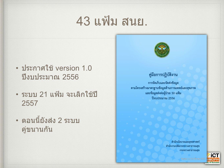 43 แฟ้ม สนย. • ประกาศใช้ version 1.0 ปีงบประมาณ 2556 • ระบบ 21 แฟ้ม จะเลิกใช้ปี 2557 • ตอนนี้ยังส่ง 2 ระบบ คู่ขนานกัน