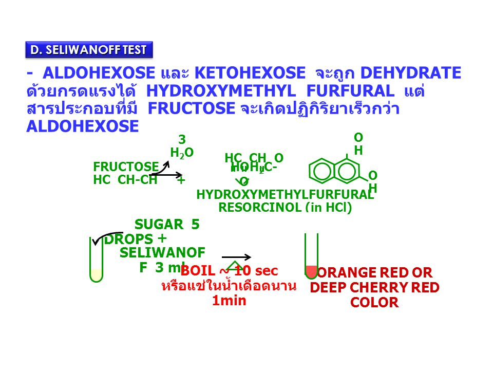 - ALDOHEXOSE และ KETOHEXOSE จะถูก DEHYDRATE ด้วยกรดแรงได้ HYDROXYMETHYL FURFURAL แต่ สารประกอบที่มี FRUCTOSE จะเกิดปฏิกิริยาเร็วกว่า ALDOHEXOSE D. SEL