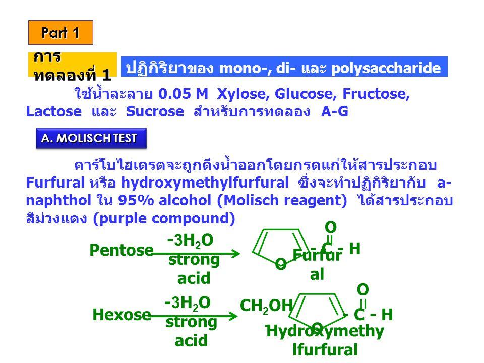 Part 1 ใช้น้ำละลาย 0.05 M Xylose, Glucose, Fructose, Lactose และ Sucrose สำหรับการทดลอง A-G คาร์โบไฮเดรตจะถูกดึงน้ำออกโดยกรดแก่ให้สารประกอบ Furfural ห
