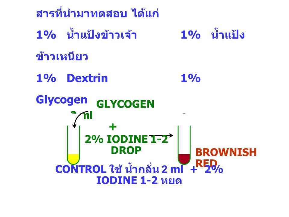 สารที่นำมาทดสอบ ได้แก่ 1% น้ำแป้งข้าวเจ้า 1% น้ำแป้ง ข้าวเหนียว 1% Dextrin1% Glycogen GLYCOGEN 2 ml 2% IODINE 1-2 DROP + BROWNISH RED CONTROL ใช้ น้ำก