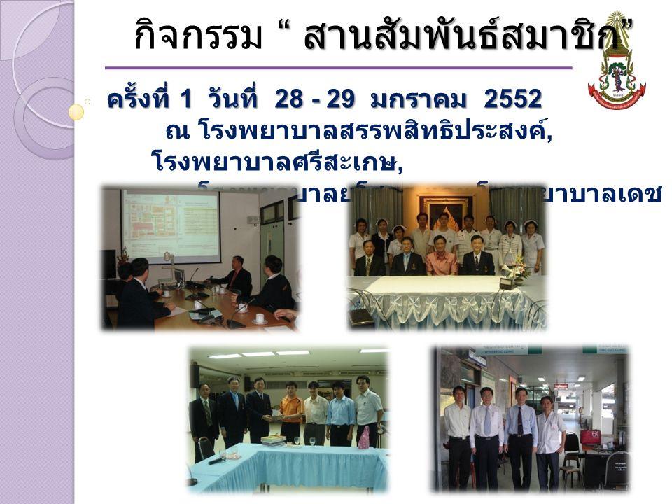 สานสัมพันธ์สมาชิก กิจกรรม สานสัมพันธ์สมาชิก ครั้งที่ 1 วันที่ 28 - 29 มกราคม 2552 ณ โรงพยาบาลสรรพสิทธิประสงค์, โรงพยาบาลศรีสะเกษ, โรงพยาบาลยโสธร และ โรงพยาบาลเดช อุดม