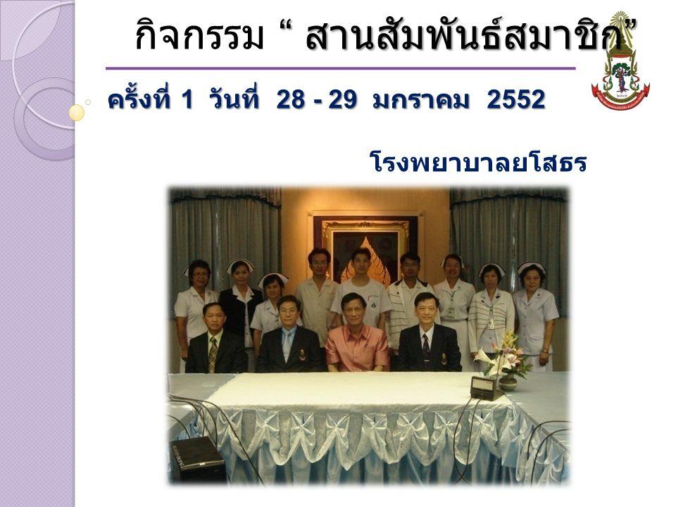สานสัมพันธ์สมาชิก กิจกรรม สานสัมพันธ์สมาชิก ครั้งที่ 1 วันที่ 28 - 29 มกราคม 2552 โรงพยาบาลศรีสะเกษ