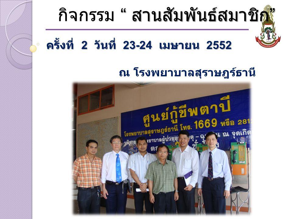 สานสัมพันธ์สมาชิก กิจกรรม สานสัมพันธ์สมาชิก ครั้งที่ 2 วันที่ 23-24 เมษายน 2552 ณ โรงพยาบาลสุราษฎร์ธานี