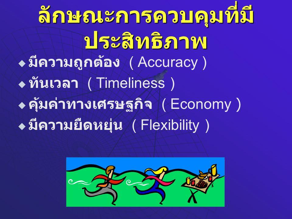 ลักษณะการควบคุมที่มี ประสิทธิภาพ   มีความถูกต้อง ( Accuracy )   ทันเวลา ( Timeliness )   คุ้มค่าทางเศรษฐกิจ ( Economy )   มีความยืดหยุ่น ( Flexibility )
