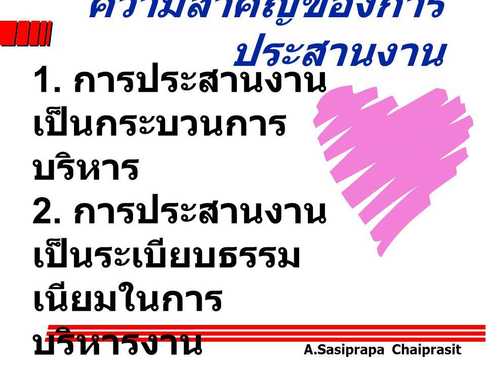 A.Sasiprapa Chaiprasit 5. ประสานงานโดย วิธีการควบคุม ( Coordination through Supervision) สิ่งสำคัญเบื้องต้นของ การประสานงาน