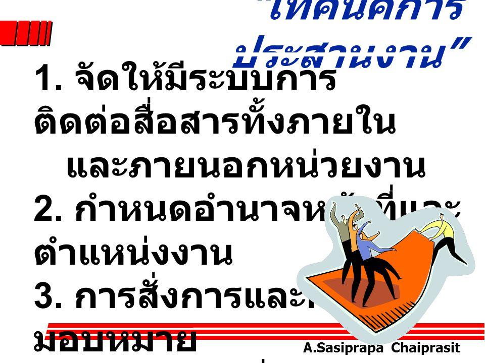A.Sasiprapa Chaiprasit ประเภทของการ ประสานงาน * การประสานงาน ในแนวราบ (Horizontal Coordination)