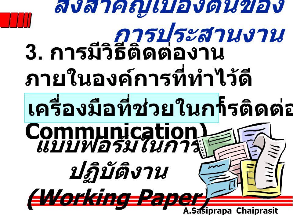 A.Sasiprapa Chaiprasit สิ่งสำคัญเบื้องต้นของ การประสานงาน 2. การมีโครงการและ นโยบายอันสอดคล้อง ต้องกัน (Harmonized Program and Policies)