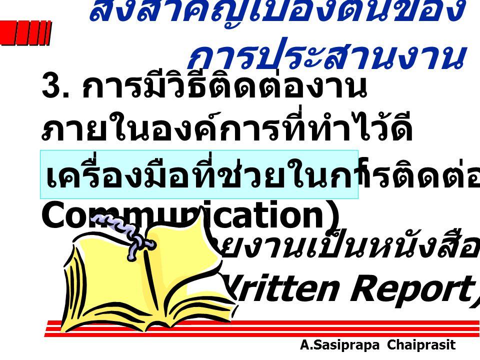 A.Sasiprapa Chaiprasit 3. การมีวิธีติดต่องาน ภายในองค์การที่ทำไว้ดี (Well-Designed of Communication) สิ่งสำคัญเบื้องต้นของ การประสานงาน เครื่องมือที่ช