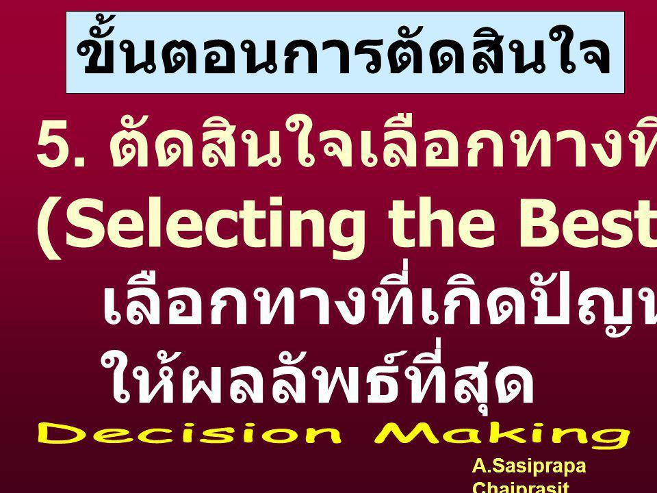 A.Sasiprapa Chaiprasit ขั้นตอนการตัดสินใจ 4. การประเมินทางเลือก (Evaluating the Alternatives) 4.1 หาข้อดี และ ข้อเสีย 4.2 ความเป็นไปได้ในทางปฎิบัติ 4.