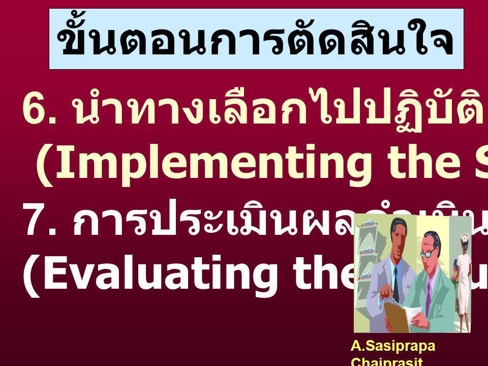 A.Sasiprapa Chaiprasit ขั้นตอนการตัดสินใจ 5. ตัดสินใจเลือกทางที่ดีที่สุด (Selecting the Best Solution) เลือกทางที่เกิดปัญหาน้อยที่สุด ให้ผลลัพธ์ที่สุด
