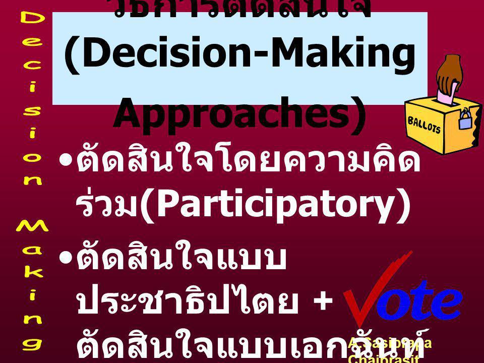 A.Sasiprapa Chaiprasit วิธีการตัดสินใจ (Decision-Making Approaches) • ตัดสินใจโดยผู้บริหาร ระดับสูง + ตัดสินใจร่วม (Centralized & Decentralized) • ตัด