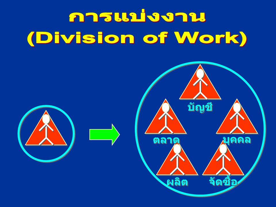 การแบ่งงาน การจัดแผนกงาน การกระจายอำนาจหน้าที่ การประสานงาน