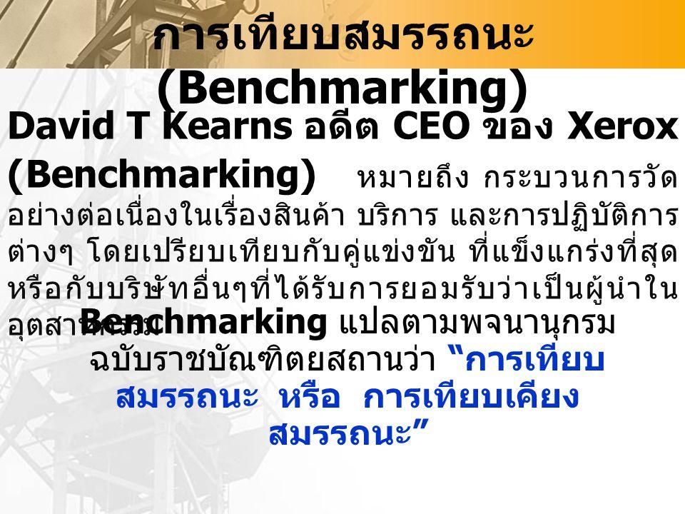 การเทียบสมรรถนะ (Benchmarking) David T Kearns อดีต CEO ของ Xerox (Benchmarking) หมายถึง กระบวนการวัด อย่างต่อเนื่องในเรื่องสินค้า บริการ และการปฏิบัติการ ต่างๆ โดยเปรียบเทียบกับคู่แข่งขัน ที่แข็งแกร่งที่สุด หรือกับบริษัทอื่นๆที่ได้รับการยอมรับว่าเป็นผู้นำใน อุตสาหกรรม Benchmarking แปลตามพจนานุกรม ฉบับราชบัณฑิตยสถานว่า การเทียบ สมรรถนะ หรือ การเทียบเคียง สมรรถนะ