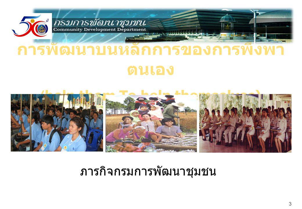 การพัฒนาบนหลักการของการพึ่งพา ตนเอง (help them To help themselves) ภารกิจกรมการพัฒนาชุมชน 3