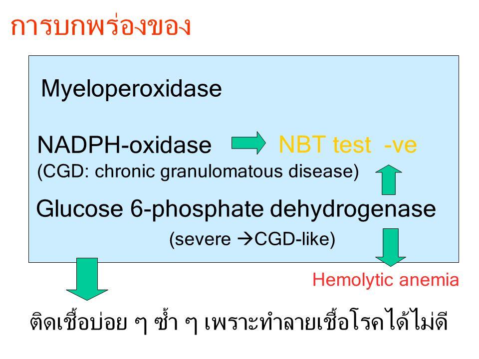 การบกพร่องของ Glucose 6-phosphate dehydrogenase Myeloperoxidase NADPH-oxidase ติดเชื้อบ่อย ๆ ซ้ำ ๆ เพราะทำลายเชื้อโรคได้ไม่ดี NBT test -ve (CGD: chron