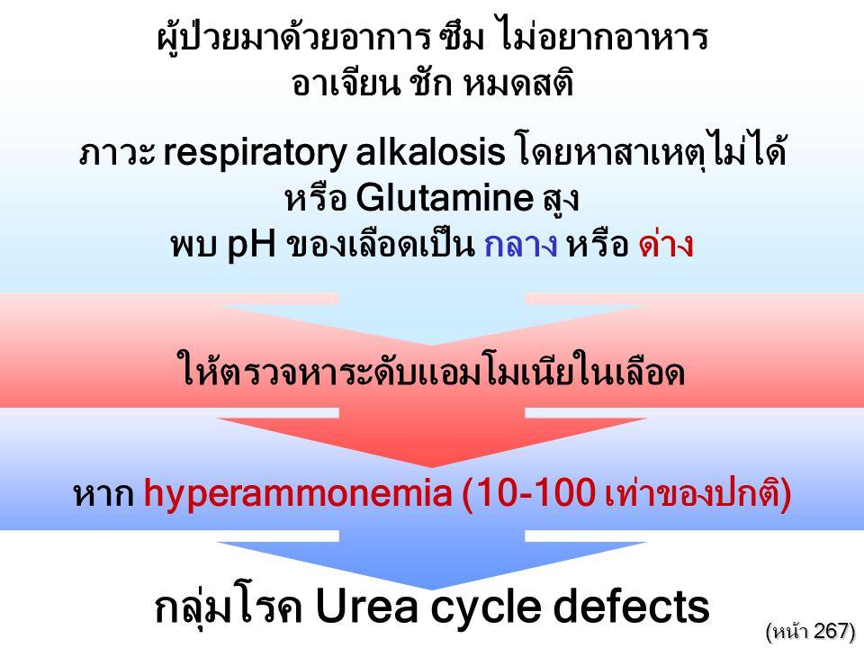 ผู้ป่วยมาด้วยอาการ ซึม ไม่อยากอาหาร อาเจียน ชัก หมดสติ ภาวะ respiratory alkalosis โดยหาสาเหตุไม่ได้ หรือ Glutamine สูง พบ pH ของเลือดเป็น กลาง หรือ ด่