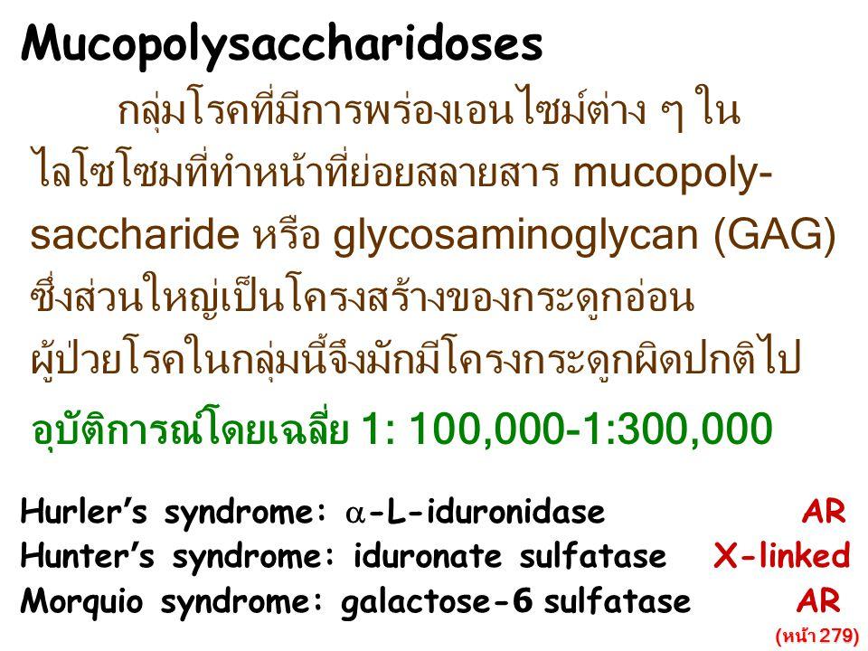 Mucopolysaccharidoses กลุ่มโรคที่มีการพร่องเอนไซม์ต่าง ๆ ใน ไลโซโซมที่ทำหน้าที่ย่อยสลายสาร mucopoly- saccharide หรือ glycosaminoglycan (GAG) ซึ่งส่วนใ