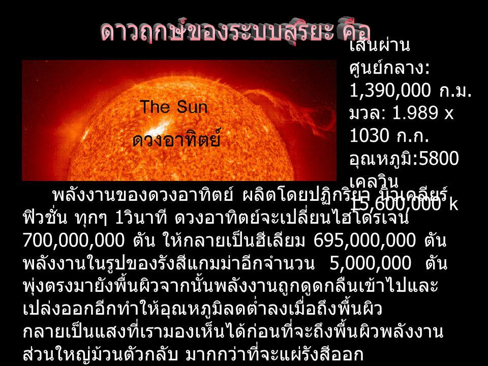เส้นผ่าน ศูนย์กลาง : 1,390,000 ก.ม. มวล : 1.989 x 1030 ก.