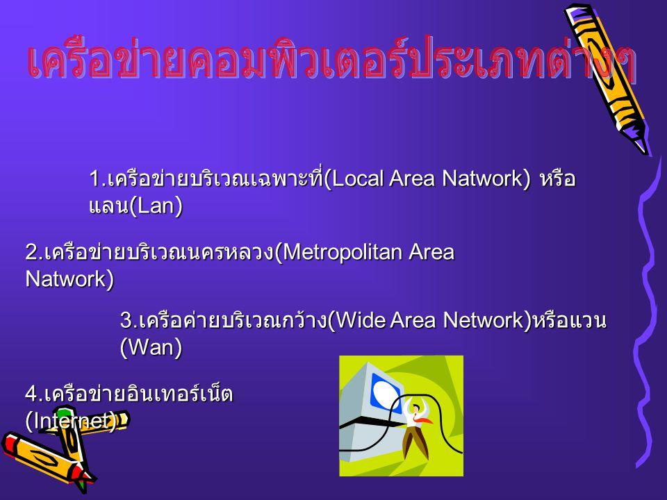 1.เครือข่ายบริเวณเฉพาะที่ (Local Area Natwork) หรือ แลน (Lan) 2.