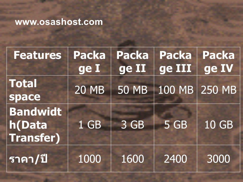 www.osashost.com FeaturesPacka ge I Packa ge II Packa ge III Packa ge IV Total space 20 MB50 MB100 MB250 MB Bandwidt h(Data Transfer) 1 GB3 GB5 GB10 G