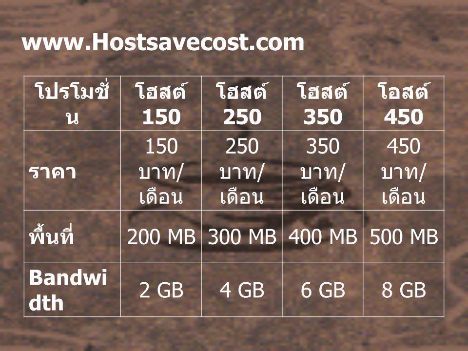www.Hostsavecost.com โปรโมชั่ น โฮสต์ 150 โฮสต์ 250 โฮสต์ 350 โอสต์ 450 ราคา 150 บาท / เดือน 250 บาท / เดือน 350 บาท / เดือน 450 บาท / เดือน พื้นที่ 200 MB300 MB400 MB500 MB Bandwi dth 2 GB4 GB6 GB8 GB