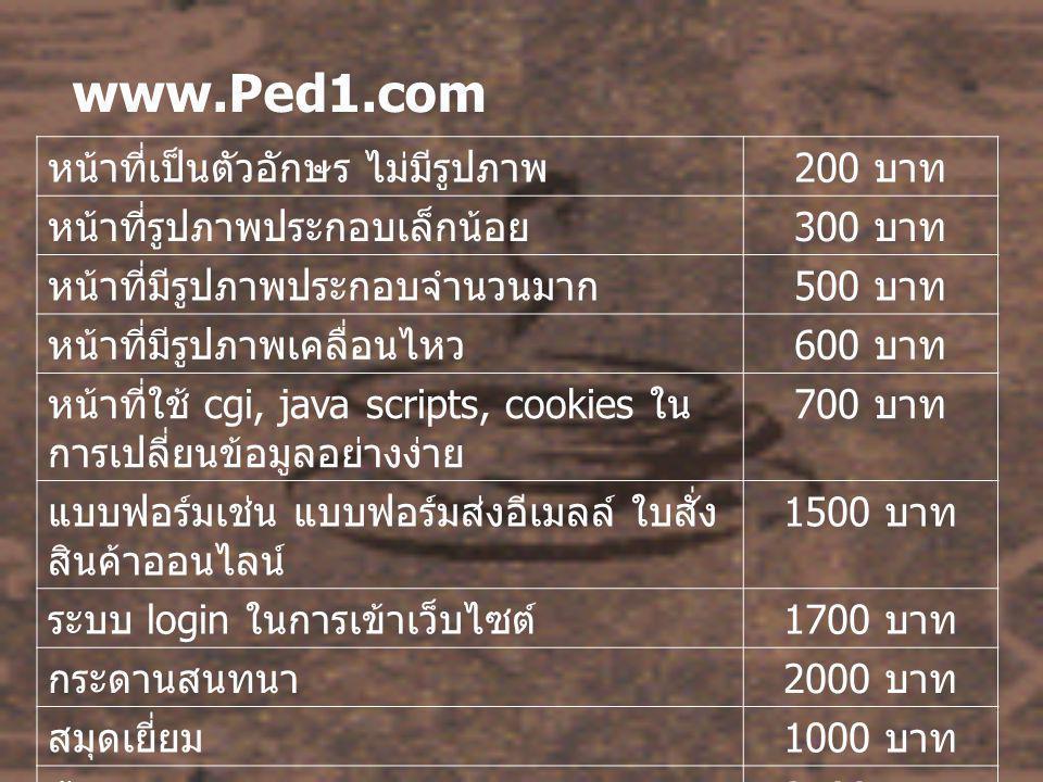 www.Ped1.com หน้าที่เป็นตัวอักษร ไม่มีรูปภาพ 200 บาท หน้าที่รูปภาพประกอบเล็กน้อย 300 บาท หน้าที่มีรูปภาพประกอบจำนวนมาก 500 บาท หน้าที่มีรูปภาพเคลื่อนไหว 600 บาท หน้าที่ใช้ cgi, java scripts, cookies ใน การเปลี่ยนข้อมูลอย่างง่าย 700 บาท แบบฟอร์มเช่น แบบฟอร์มส่งอีเมลล์ ใบสั่ง สินค้าออนไลน์ 1500 บาท ระบบ login ในการเข้าเว็บไซต์ 1700 บาท กระดานสนทนา 2000 บาท สมุดเยี่ยม 1000 บาท ห้องสนทนา 2500 บาท