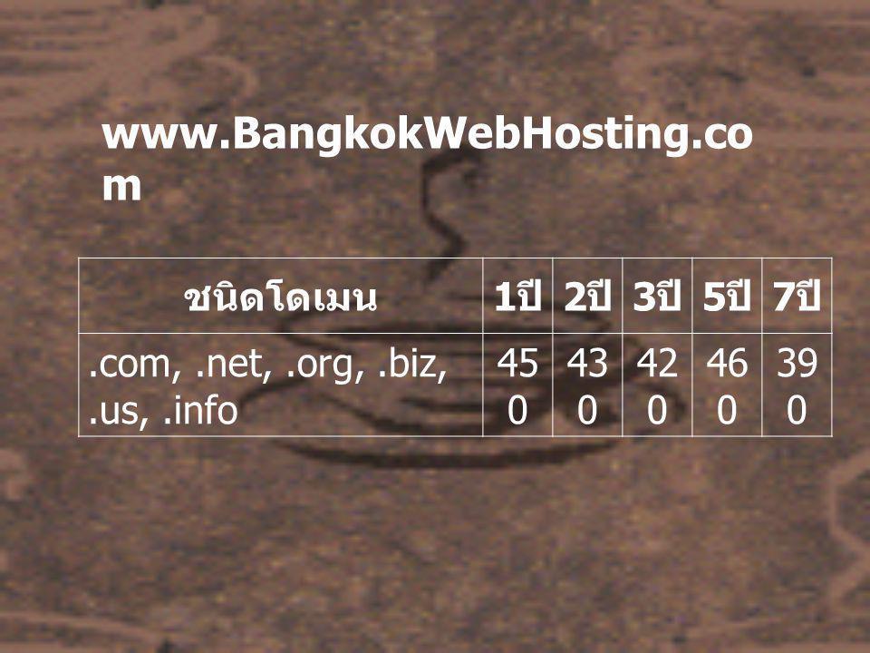 www.BangkokWebHosting.co m ชนิดโดเมน 1 ปี 2 ปี 3 ปี 5 ปี 7 ปี.com,.net,.org,.biz,.us,.info 45 0 43 0 42 0 46 0 39 0