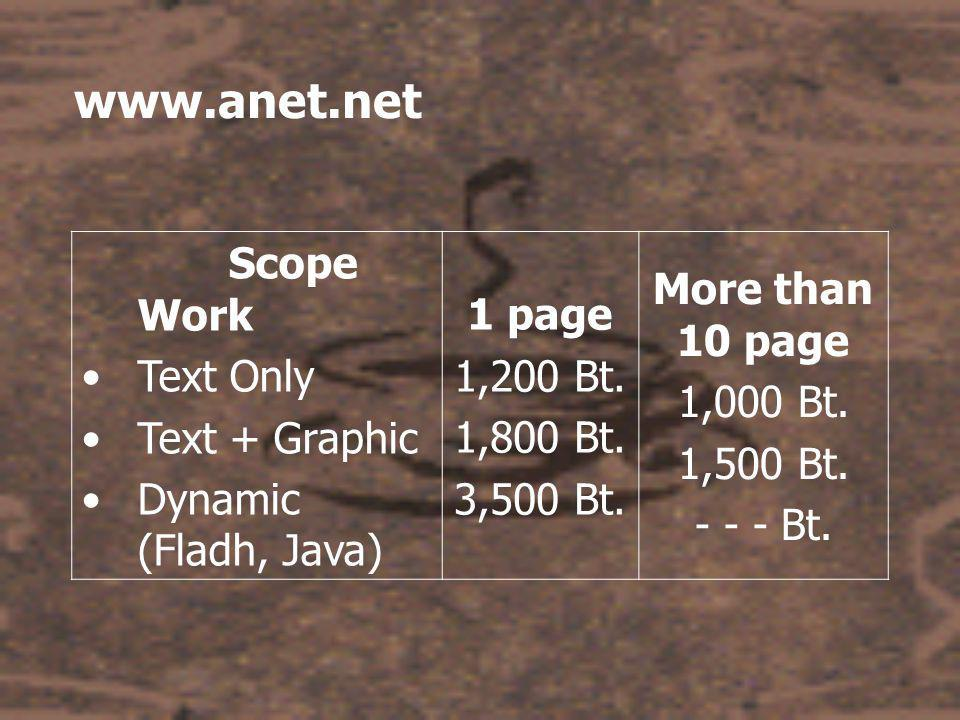 www.anet.net Scope Work •Text Only •Text + Graphic •Dynamic (Fladh, Java) 1 page 1,200 Bt.