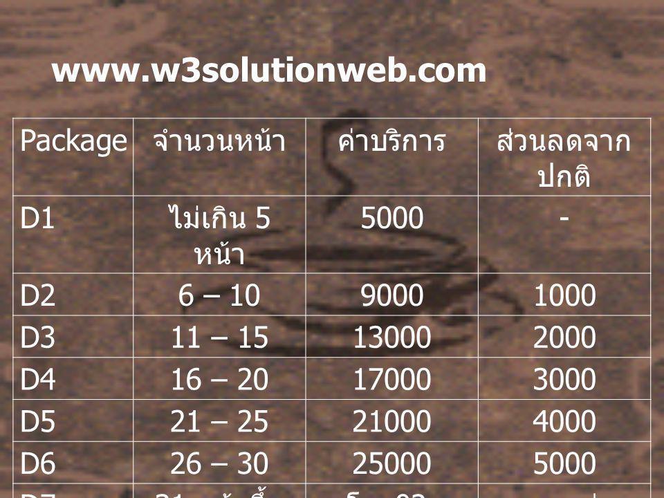 www.w3solutionweb.com Package จำนวนหน้าค่าบริการส่วนลดจาก ปกติ D1 ไม่เกิน 5 หน้า 5000- D26 – 1090001000 D311 – 15130002000 D416 – 20170003000 D521 – 25210004000 D626 – 30250005000 D7 31 หน้าขึ้น ไป โทร 02- 94606304 มากกว่า 5000 บาท