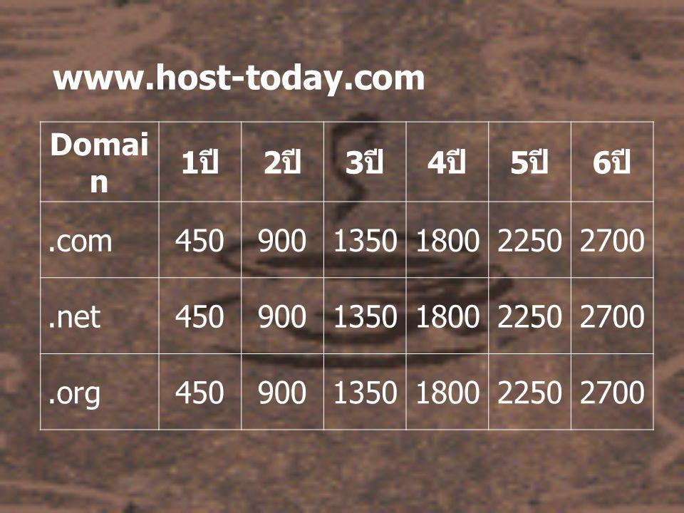 www.host-today.com Domai n 1 ปี 2 ปี 3 ปี 4 ปี 5 ปี 6 ปี.com4509001350180022502700.net4509001350180022502700.org4509001350180022502700