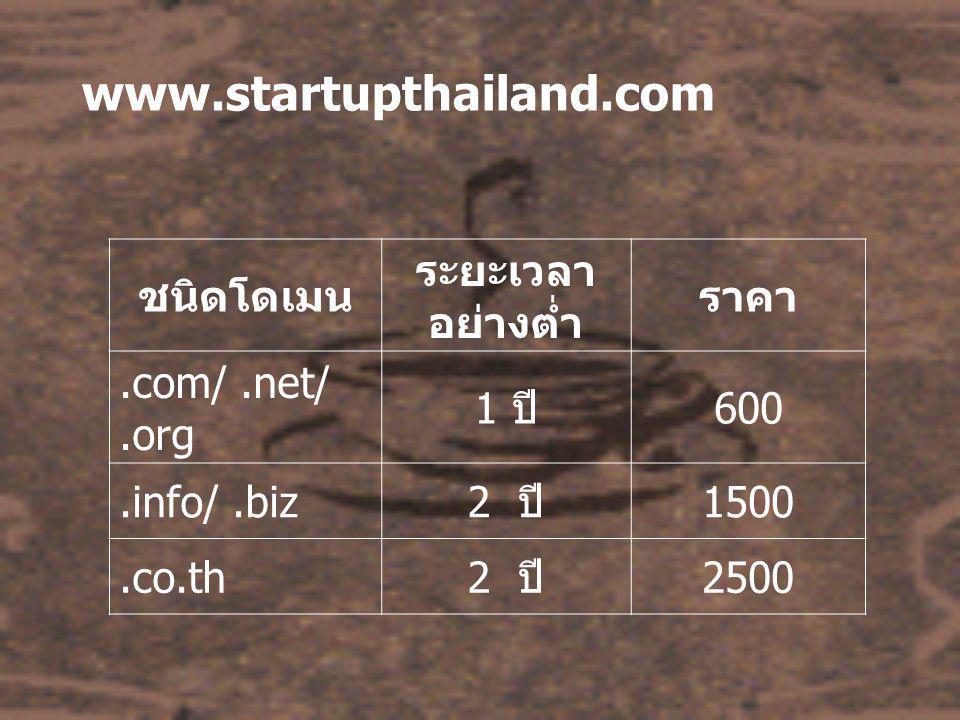 ทุก Package ประกอบด้วย - โครงสร้างและสีสันแบบมืออาชีพ ออกแบบใหม่ทุกครั้ง ใน สไตล์ของหน่วยงานหรือองค์กรท่าน - ออกแบบด้วย HTML, JavaScript - ภาพ Animation ตามความเหมาะสม - เป็นภาษาไทยหรือภาษาอังกฤษ หรือทั้ง 2 ภาษา - จำนวน 1 หน้า เท่ากับ A4 - ฟรีฟอร์มเมลล์สำหรับลูกค้าติดต่อ ติดตั้งในหน้า Contact หรือตามต้องการ - ฟรีประชาสัมพันธ์ที่ Search Engine - ฟรีติดตั้งสถิติสำรวจความนิยมในหน้าแรก - ฟรี Web board สำเร็จรูป เมื่อเลือก Package D3 เป็นต้น ไป