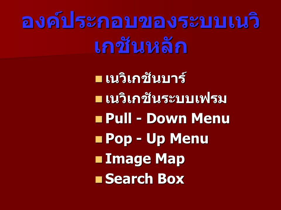 องค์ประกอบของระบบเนวิ เกชันหลัก  เนวิเกชันบาร์  เนวิเกชันระบบเฟรม  Pull - Down Menu  Pop - Up Menu  Image Map  Search Box