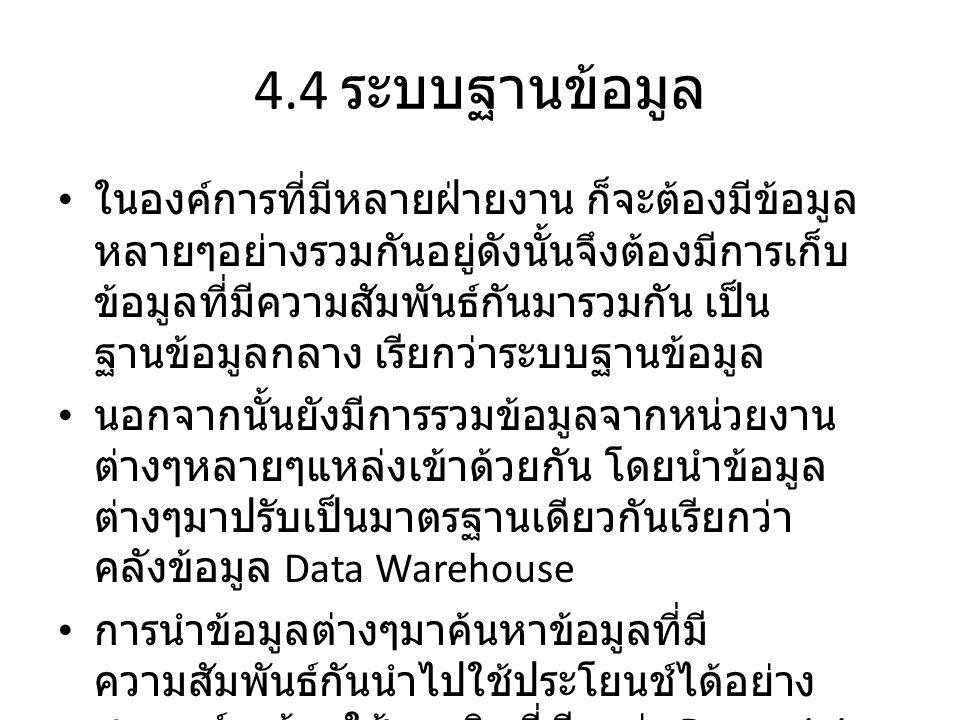 4.5 พาณิชย์อิเล็กทรอนิกส์ • E-Commerce เป็นการทำการค้าผ่านทางสื่อ อิเล็กทรอนิกส์ หากแบ่งตามลักษณะการ ดำเนินงานระหว่างผู้ซื้อกับผู้ขายจะแบ่งได้เป็น 3 ประเภทดังนี้ 1.
